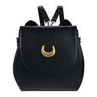 Multipurpose Backpack and Shoulder Bag PU Leather Sailor Moon Multifunction Shoulder Black White Luna Cat Shape Ladies Backpack