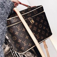 LV Women Shoppong Bag Leather Mickey Mouse Print Crossbody Satchel Shoulder Bag