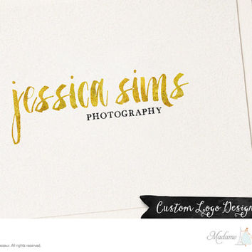 Premade Logo Design Text Only Logo Silver Logo Gold Logo Photography Logo Etsy Shop Logo Website Blog Logo Gold Text Silver Text Logo Design