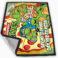 TMNT ninja turtle say yes to pizza Blanket for Kids Blanket, Fleece Blanket Cute and Awesome Blanket for your bedding, Blanket fleece **