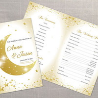 DIY Printable Wedding Program Template | Editable MS Word file | 8.5 x 11 | Instant Download | 5 point gold moon stars