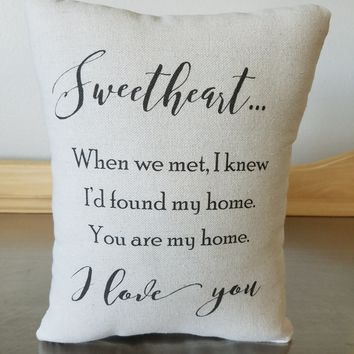 Love Quote Pillow second Anniversary Gift Cotton Pillow