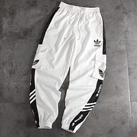 ADIDAS Popular Women Men Leisure Print Sport Pants Trousers Sweatpants White