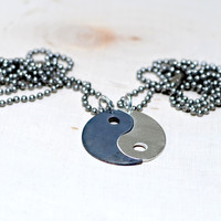 Yin Yang Sterling Silver Couples Necklace