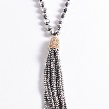 Vintage Style Silver Grey Crystal Beaded & Tassel Pendant Necklace