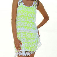 White Floral Lace Crochet and Green Inner Set