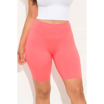 Going All Out Biker Short Coral