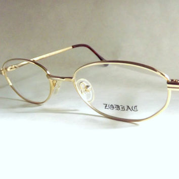 Eyeglasses, Womens Gold Metal Eyeglass Frames, Oval Small Eyewear, New Old Stock Frames