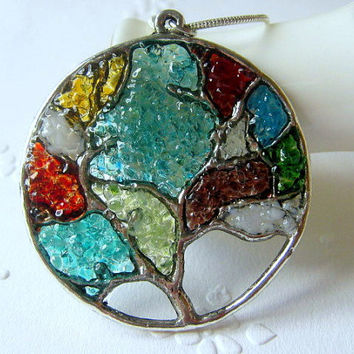 Family Tree Necklace, Birthstone Necklace, Gift for Mom, Grandmother Gift, Family Tree Jewelry, Custom Family Tree, Stained Glass Jewelry