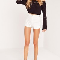 Missguided - Vice Lace Up Denim Shorts White