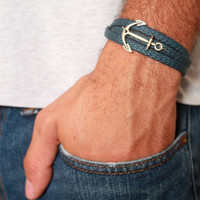 Men's Bracelet - Blue Fabric Bracelet With Silver Plated Anchor - Men's Jewelry - Nautical Jewelry - Anchor Jewelry - Gift for Him