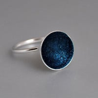 The Sky Above Us Sterling Silver Statement Open Ring Deep Blue Moon Druzy Enamel Stars Minimal Modern Mysterious Woman Accessory under 50