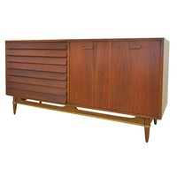 Pre-owned Merton Gershun Walnut and Brass Accent Credenza