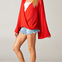 RED BELL SLEEVE TOP WITH WRAP FRONT