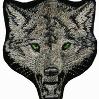 Wolf Gray Embroidered Iron On Applique Patch CD3275