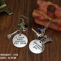 """DIY hand-carved Wicked the Musical Drop Earrings """"I Knew You, I Have Been Changed For Good"""" Ladyfirst For Women Gifts Jewelry"""