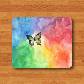 Colorful Watercolor Butterfly Mouse Pad Clound Art Color Painting MousePad Art Desk Deco Work Fabric Pad Mat Custom Personalize Beauty Gift