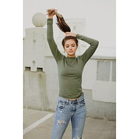 Free People: Lindsey Mock Neck Top in Moss
