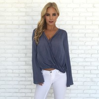 On The Fray Wrap Blouse