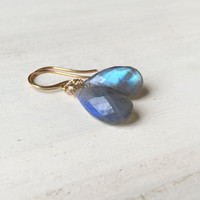 Flashy Blue, AAA Labradorite Briolette Earrings with Gold Vermeil, Handmade Gift, Gemstone Earrings, Fire Blue Flash, Natural Stones, New