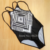 New Fashion Women Sexy Retro Print One Pieces Black Bikini Set Swimwear Boho Swimsuit Beach Bathing Suit Size S,M,L