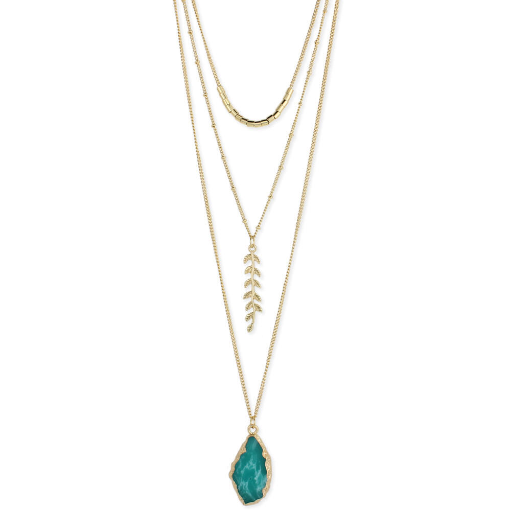 Image of Stone and Fern Long Layered Necklace