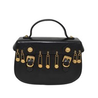 Versace Couture Vintage Medusa Safety Pin Leather Bag