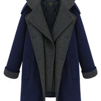 Blue Plus Size Thick Single-Breasted Lapel Stitching Hooded Coat