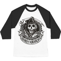Sons Of Anarchy Men's  Reaper Banner Baseball Jersey White Rockabilia