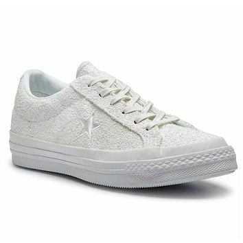 Converse One Star After Party Ox White Silver Glitter 162618C Womens Shoes