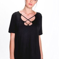 Lydia Open Neck Lace Up T-Shirt