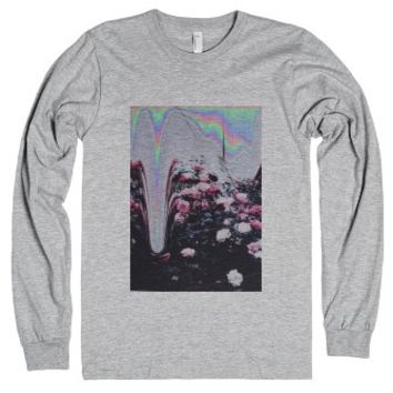Graphic Pink Flowers-Unisex Heather Grey T-Shirt