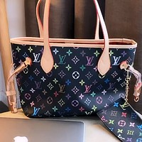 LV onthego colorful letters printed women's shopping bag tote bag handbag crossbody bag two-piece