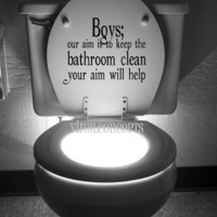 Boys, our aim is to keep the bathroom clean, your aim will help - Vinyl Wall Art