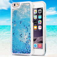 2015 Newest Fashion Fun Glitter Star Liquid Back Case cover for iphone 6 case 4.7 inch transparent clear case Phone Cases Covers