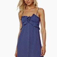 Girl About Town Ruffle Mini Dress - Denim Blue Polka Dot Print