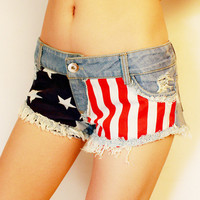 Jeans Shorts with US Flag STS002F
