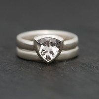 White Trillion Cut Topaz Wedding Set - Engagement Ring and Matching Wedding Band - Free Shipping - Made to fit