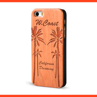 West Coast California Dreaming Engraved Real Wood Case Cover for iPhone 6, iPhone 6 Plus, iPhone 5 5s, iPhone 5c, iPhone 4 4s by Froolu