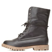 Sherpa-Lined Combat Boots by Charlotte Russe