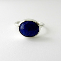 Lapis Lazuli Ring Sterling Silver Blue Stone Ring  by SilverMoth