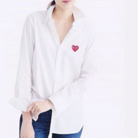 Fashion Peach heart smile Men and women of classic couple shirt Pure color  shirt