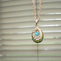 Teardrop Blue and Green and Clear Rhinestone Adjustable Gold Tone Necklace