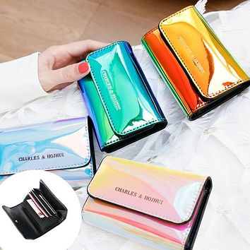 Women Laser Holographic Wallets 12 Bits Card Holder Coin Purse Small Card Wallet Women Credit Card Holder Cartera