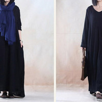 Black maxi dress linen dress loosr dress winter dress  Casual dress/Loose Fitting dress/Long Sleeve dress autumn clothing plus size dress