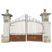 French Louis XVI Period Stone-Carved Pillars and Wrought Iron Gate