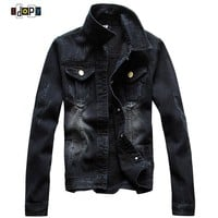 Men's Casual Denim Jacket Slim Jeans Jacket Fashion Nicely Stone Washed Lapel Slim Fit Black Denim Jean Bomber Jacket For Men