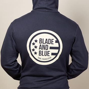 Navy Blade + Blue Crest Hoodie Sizes S & M Available