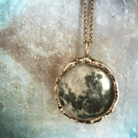 Full Moon Necklace. Oxidized Sterling Silver Chain. Moon Pendant Collection. Medium