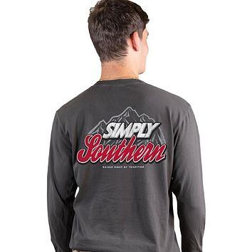 Simply Southern Mountain Logo Unisex Comfort Colors Long Sleeve T-Shirt